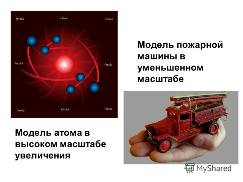 Модель атома в высоком масштабе увеличения Модель пожарной машины в уменьшенном масштабе