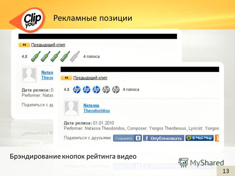 Рекламные позиции Брэндирование кнопок рейтинга видео 13