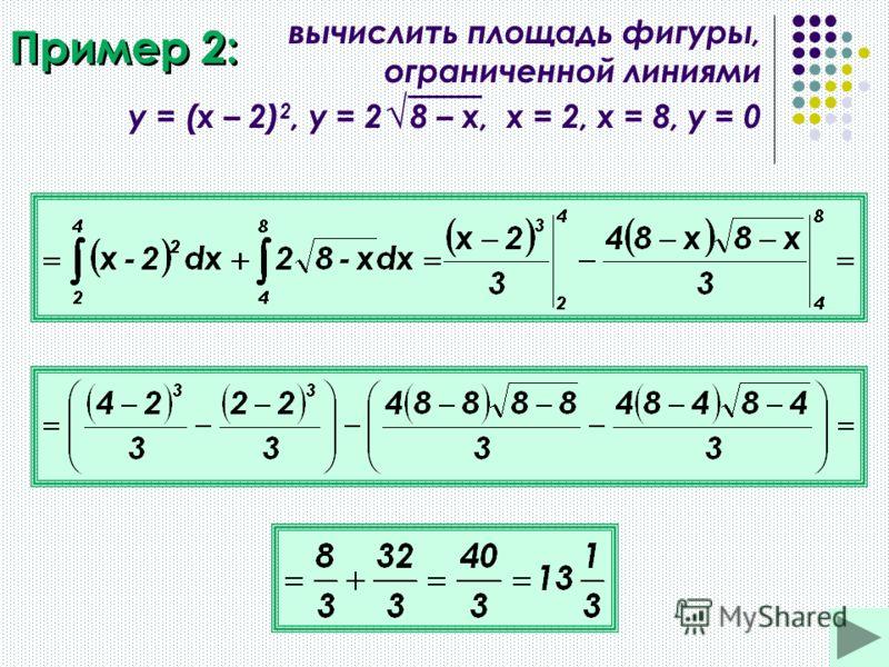 Пример 2: вычислить площадь фигуры, ограниченной линиями y = (x – 2) 2, y = 2 8 – x, х = 2, х = 8, у = 0