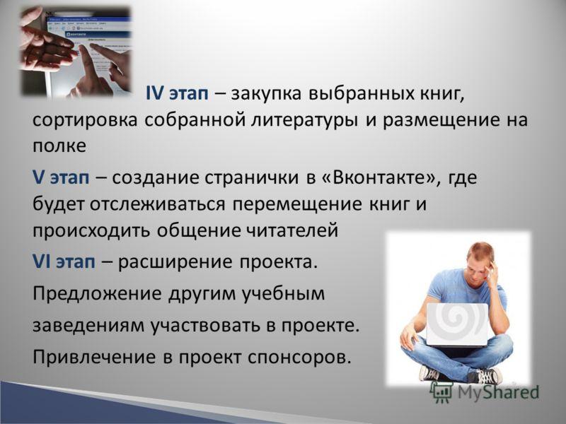 IV этап – закупка выбранных книг, сортировка собранной литературы и размещение на полке V этап – создание странички в «Вконтакте», где будет отслеживаться перемещение книг и происходить общение читателей VI этап – расширение проекта. Предложение друг