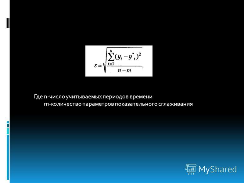 Где n-число учитываемых периодов времени m-количество параметров показательного сглаживания