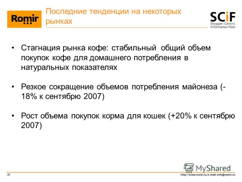 http://www.romir.ru, e-mail: info@romir.ru 21 Последние тенденции на некоторых рынках Стагнация рынка кофе: стабильный общий объем покупок кофе для домашнего потребления в натуральных показателях Резкое сокращение объемов потребления майонеза (- 18%