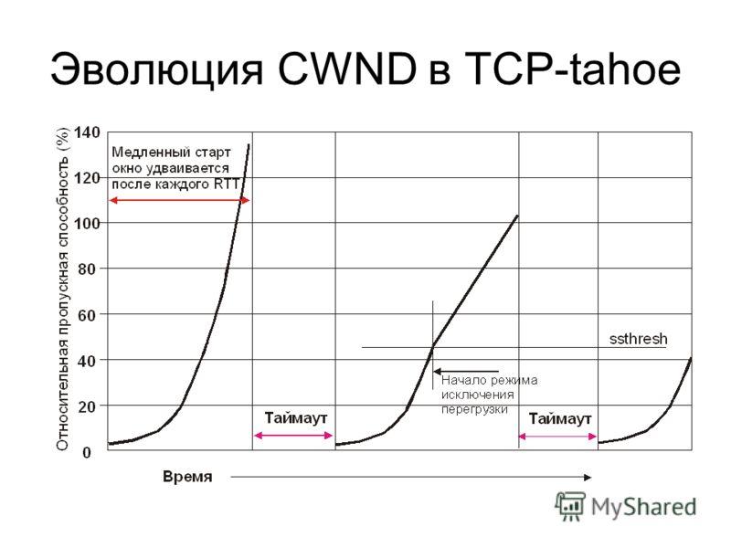 Эволюция CWND в TCP-tahoe