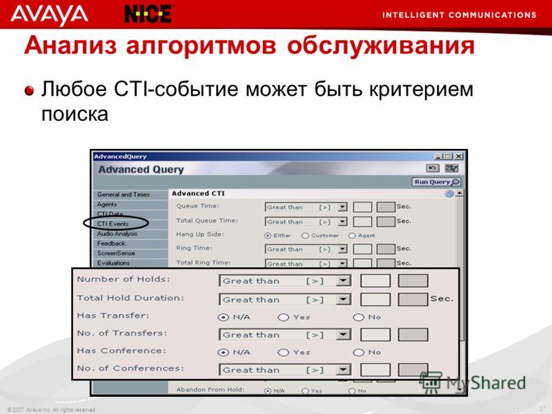 27 © 2007 Avaya Inc. All rights reserved. Анализ алгоритмов обслуживания Любое CTI-событие может быть критерием поиска