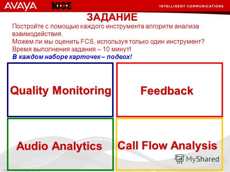 34 © 2007 Avaya Inc. All rights reserved. Quality Monitoring Feedback Audio Analytics Call Flow Analysis ЗАДАНИЕ Постройте с помощью каждого инструмента алгоритм анализа взаимодействия. Можем ли мы оценить FCS, используя только один инструмент? Время