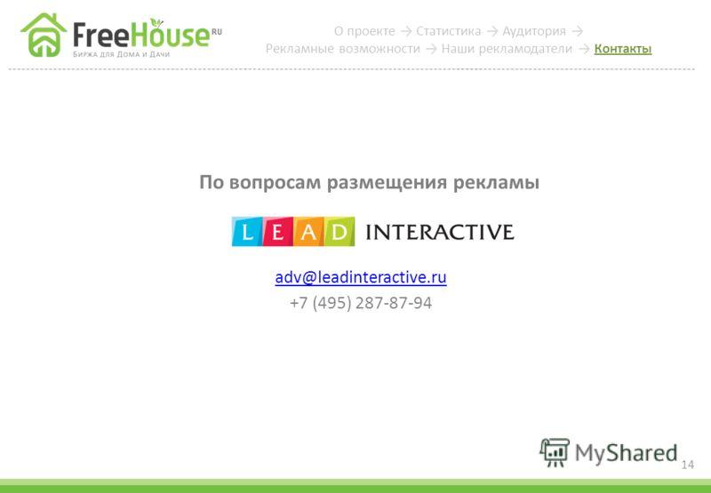 По вопросам размещения рекламы adv@leadinteractive.ru +7 (495) 287-87-94 14 О проекте Статистика Аудитория Рекламные возможности Наши рекламодатели Контакты