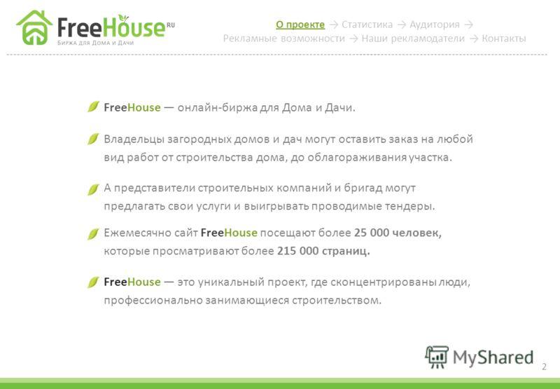О проекте Статистика Аудитория Рекламные возможности Наши рекламодатели Контакты 2 FreeHouse онлайн-биржа для Дома и Дачи. Владельцы загородных домов и дач могут оставить заказ на любой вид работ от строительства дома, до облагораживания участка. А п