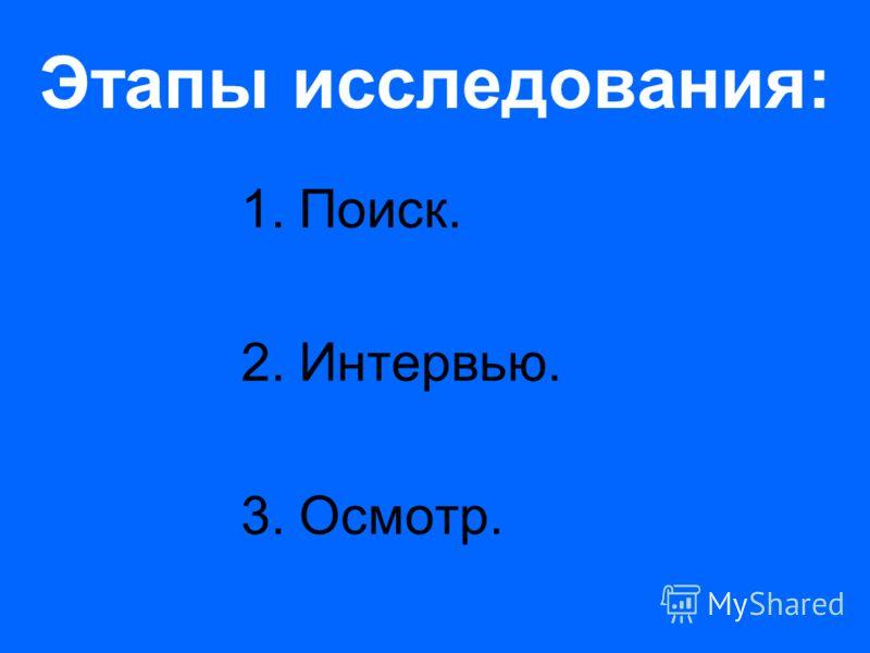 Этапы исследования: 1.Поиск. 2.Интервью. 3.Осмотр.