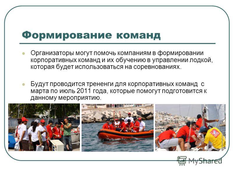 Формирование команд Организаторы могут помочь компаниям в формировании корпоративных команд и их обучению в управлении лодкой, которая будет использоваться на соревнованиях. Будут проводится трененги для корпоративных команд с марта по июль 2011 года