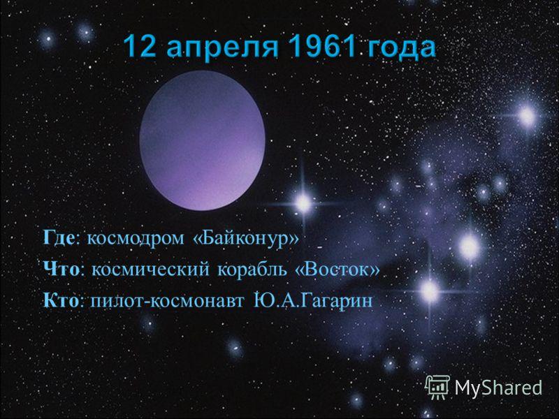 Где : космодром « Байконур » Что : космический корабль « Восток » Кто : пилот - космонавт Ю. А. Гагарин