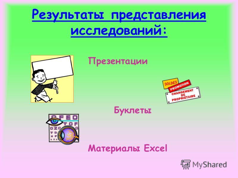 Результаты представления исследований: Презентации Буклеты Материалы Excel