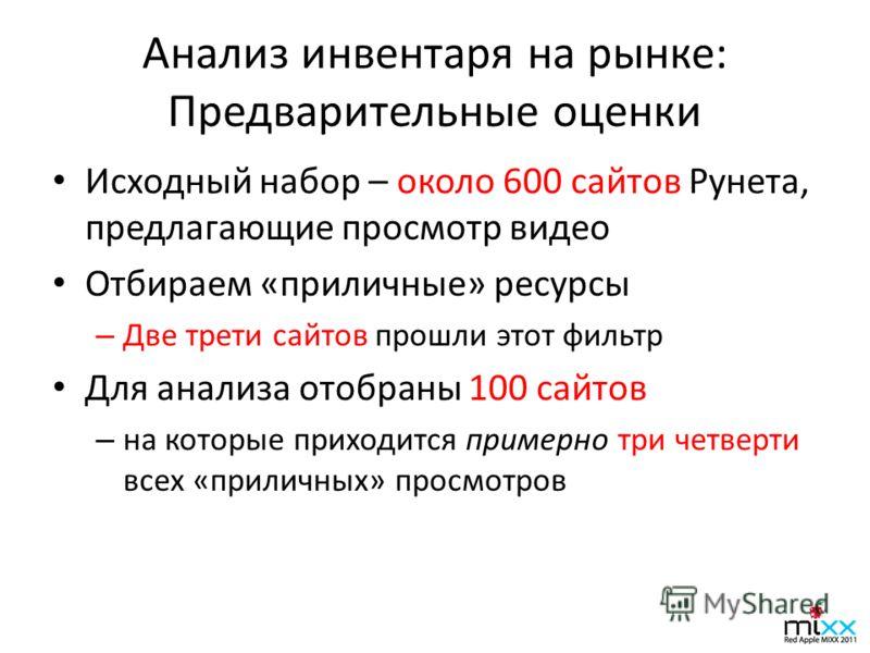 Анализ инвентаря на рынке: Предварительные оценки Исходный набор – около 600 сайтов Рунета, предлагающие просмотр видео Отбираем «приличные» ресурсы – Две трети сайтов прошли этот фильтр Для анализа отобраны 100 сайтов – на которые приходится примерн