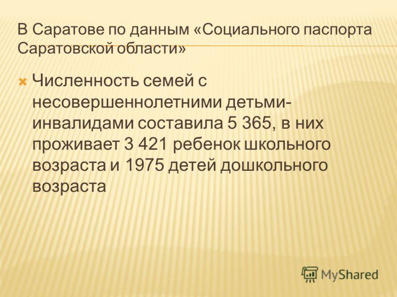В Саратове по данным «Социального паспорта Саратовской области» Численность семей с несовершеннолетними детьми- инвалидами составила 5 365, в них проживает 3 421 ребенок школьного возраста и 1975 детей дошкольного возраста