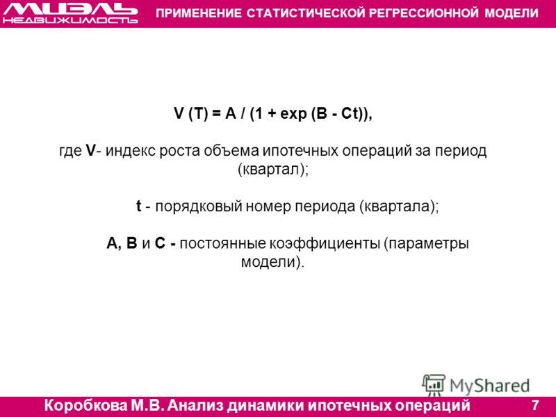 Коробкова М.В. Анализ динамики ипотечных операций 7 ПРИМЕНЕНИЕ СТАТИСТИЧЕСКОЙ РЕГРЕССИОННОЙ МОДЕЛИ V (Т) = А / (1 + ехр (B - Ct)), где V- индекс роста объема ипотечных операций за период (квартал); t - порядковый номер периода (квартала); А, В и С -