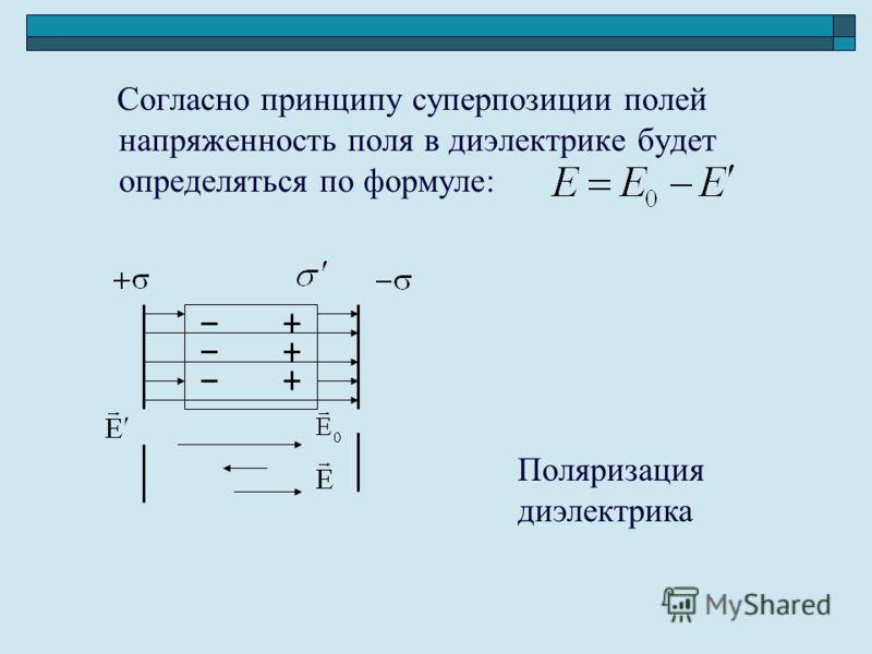 Согласно принципу суперпозиции полей напряженность поля в диэлектрике будет определяться по формуле: Поляризация диэлектрика