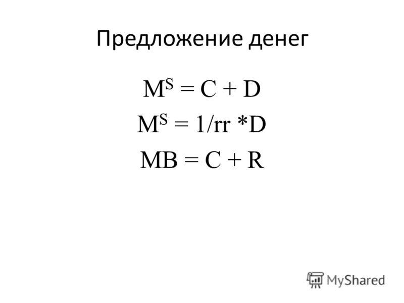Предложение денег M S = C + D M S = 1/rr *D MB = C + R