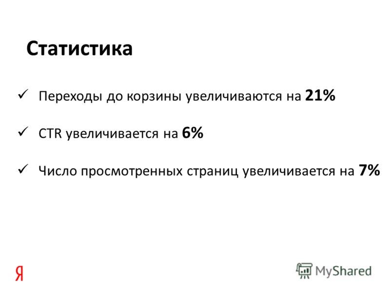 Переходы до корзины увеличиваются на 21% CTR увеличивается на 6% Число просмотренных страниц увеличивается на 7% Статистика