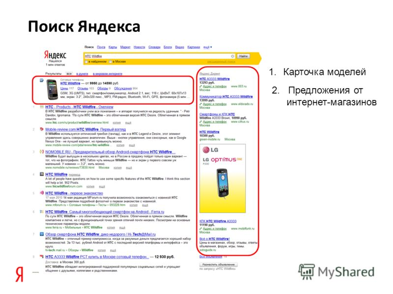 Поиск Яндекса 1.Карточка моделей 2. Предложения от интернет-магазинов