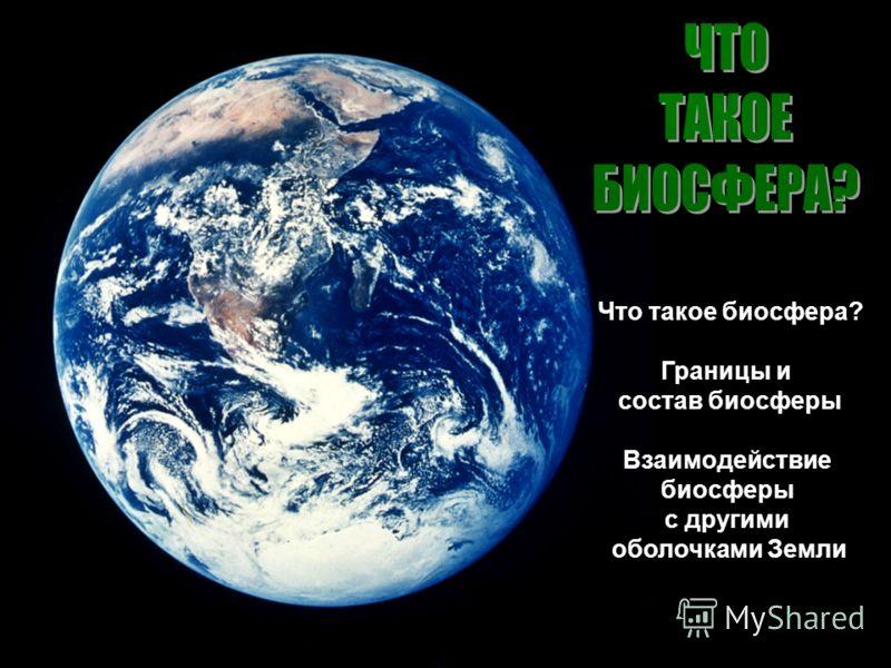 Что такое биосфера? Границы и состав биосферы Взаимодействие биосферы с другими оболочками Земли