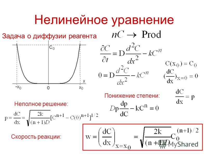 Нелинейное уравнение Задача о диффузии реагента Понижение степени: Неполное решение: Скорость реакции: