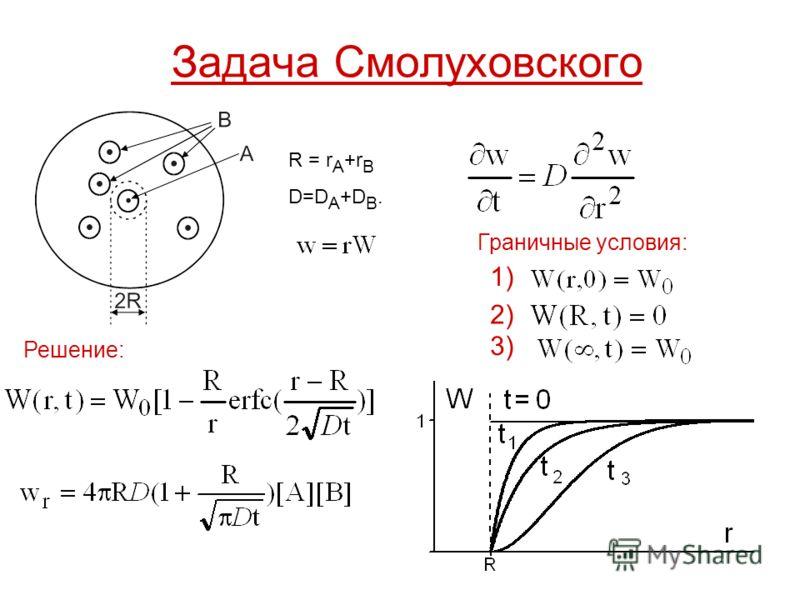 Задача Смолуховского R = r A +r B D=DA+DB.D=DA+DB. Граничные условия: 1) 2)2) 3)3) Решение: