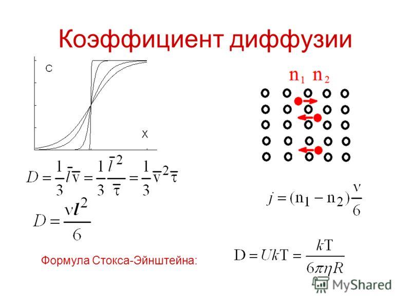 Коэффициент диффузии Формула Стокса-Эйнштейна: