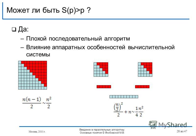 Да: –Плохой последовательный алгоритм –Влияние аппаратных особенностей вычислительной системы Может ли быть S(p)>p ? Москва, 2011 г. Введение в параллельные алгоритмы: Основные понятия © Якобовский М.В. 28 из 47