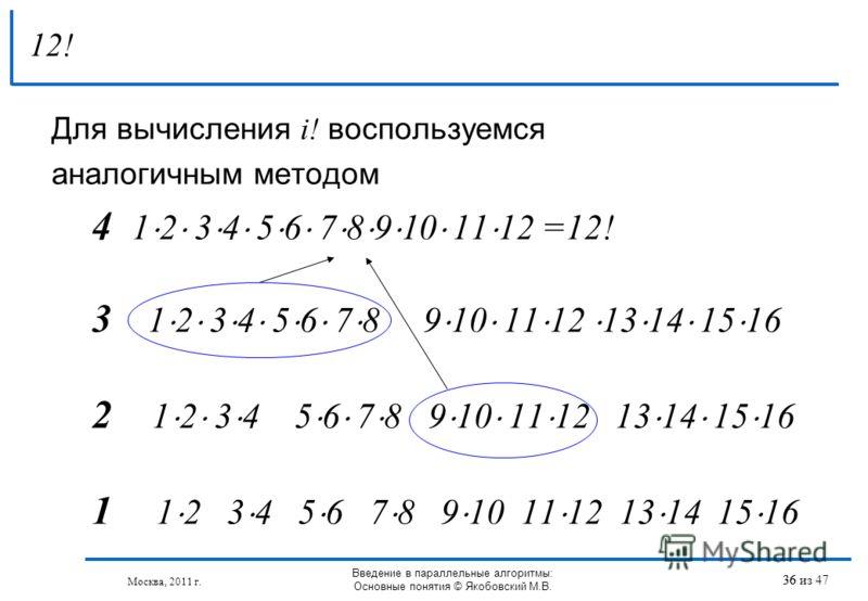 Для вычисления i! воспользуемся аналогичным методом 4 1 2 3 4 5 6 7 8 9 10 11 12 =12! 3 1 2 3 4 5 6 7 8 9 10 11 12 13 14 15 16 2 1 2 3 4 5 6 7 8 9 10 11 12 13 14 15 16 1 1 2 3 4 5 6 7 8 9 10 11 12 13 14 15 16 12! 36 Москва, 2011 г. Введение в паралле