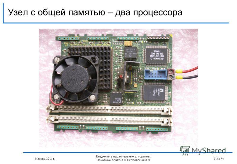 Узел с общей памятью – два процессора Москва, 2011 г. Введение в параллельные алгоритмы: Основные понятия © Якобовский М.В. 8 из 47