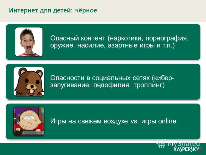 Интернет для детей: чёрное Опасный контент (наркотики, порнография, оружие, насилие, азартные игры и т.п.) Опасности в социальных сетях (кибер- запугивание, педофилия, троллинг) Игры на свежем воздухе vs. игры online.