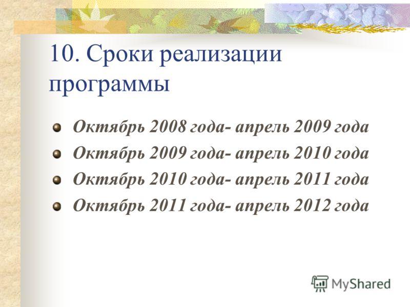 10. Сроки реализации программы Октябрь 2008 года- апрель 2009 года Октябрь 2009 года- апрель 2010 года Октябрь 2010 года- апрель 2011 года Октябрь 2011 года- апрель 2012 года