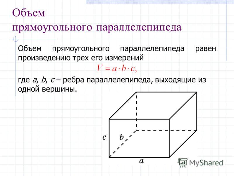 Объем прямоугольного параллелепипеда Объем прямоугольного параллелепипеда равен произведению трех его измерений где a, b, c – ребра параллелепипеда, выходящие из одной вершины.