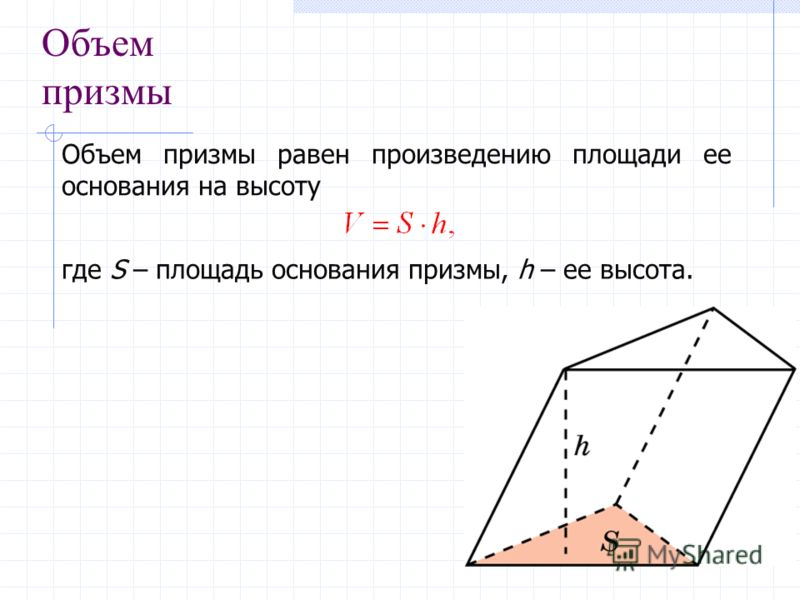 Объем призмы Объем призмы равен произведению площади ее основания на высоту где S – площадь основания призмы, h – ее высота.