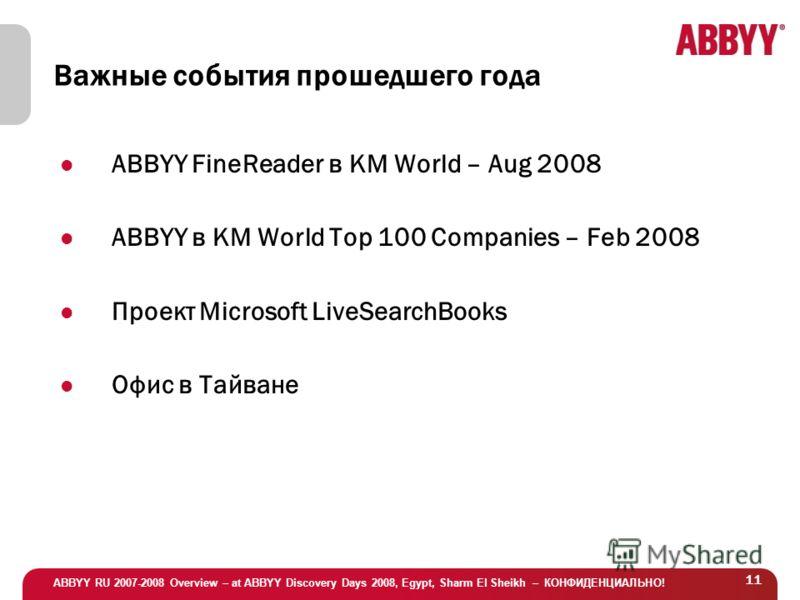 ABBYY RU 2007-2008 Overview – at ABBYY Discovery Days 2008, Egypt, Sharm El Sheikh – КОНФИДЕНЦИАЛЬНО! 11 Важные события прошедшего года ABBYY FineReader в KM World – Aug 2008 ABBYY в KM World Top 100 Companies – Feb 2008 Проект Microsoft LiveSearchBo