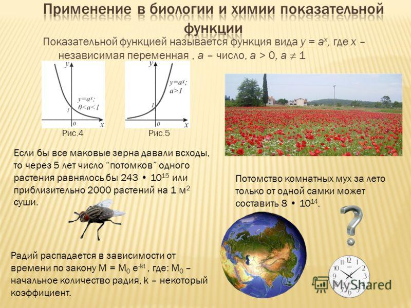 Показательной функцией называется функция вида у = a x, где х – независимая переменная, a – число, a > 0, a 1 Если бы все маковые зерна давали всходы, то через 5 лет число потомков одного растения равнялось бы 243 10 15 или приблизительно 2000 растен