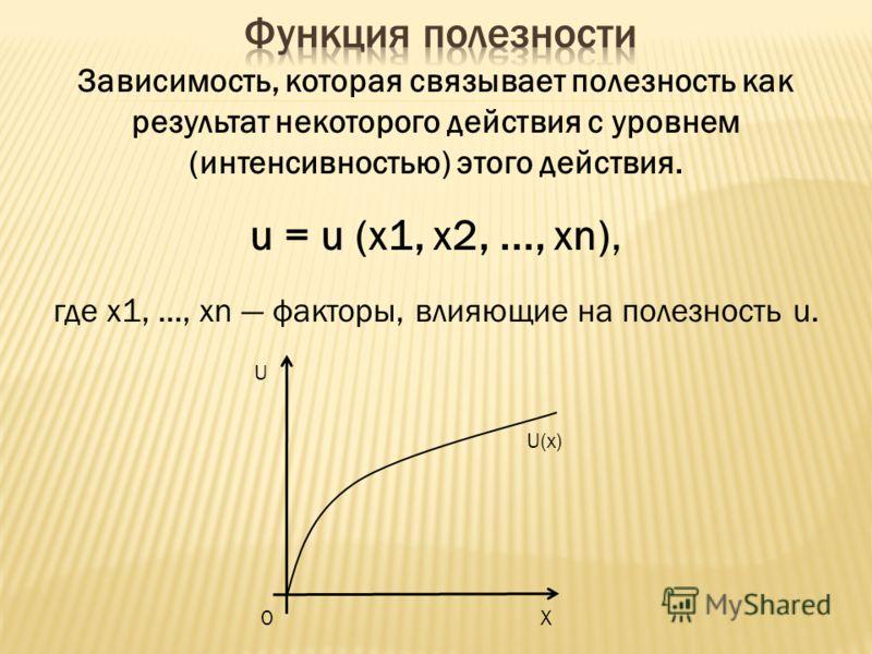 Зависимость, которая связывает полезность как результат некоторого действия с уровнем (интенсивностью) этого действия. u = u (x1, x2,..., xn), где x1,..., xn факторы, влияющие на полезность u. U X0 U(x)