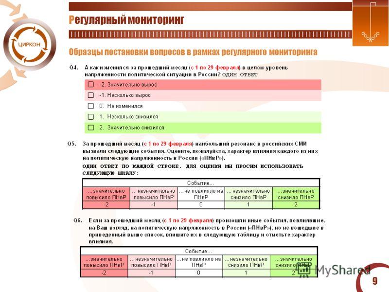 9 Регулярный мониторинг Образцы постановки вопросов в рамках регулярного мониторинга