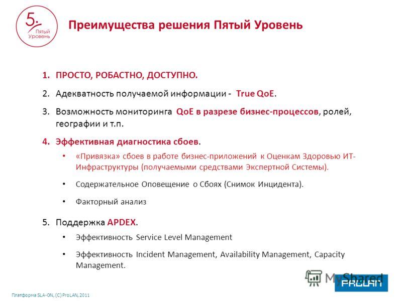 Платформа SLA-ON, (С) ProLAN, 2011 Преимущества решения Пятый Уровень 1.ПРОСТО, РОБАСТНО, ДОСТУПНО. 2.Адекватность получаемой информации - True QoE. 3.Возможность мониторинга QoE в разрезе бизнес-процессов, ролей, географии и т.п. 4.Эффективная диагн