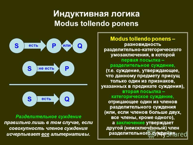 есть не есть есть Индуктивная логика Modus tollendo ponens SPQ SP SQ Modus tollendo ponens – разновидность разделительно-категорического умозаключения, в которой первая посылка – разделительное суждение, (т.е. суждение, утверждающее, что данному пред