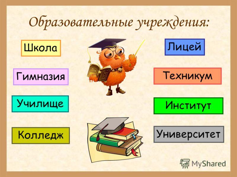 Образовательные учреждения: Школа Гимназия Колледж Училище Лицей Университет Техникум Институт