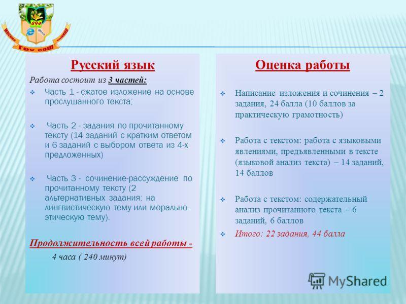 Русский язык Работа состоит из 3 частей: Часть 1 - сжатое изложение на основе прослушанного текста; Часть 2 - задания по прочитанному тексту (14 заданий с кратким ответом и 6 заданий с выбором ответа из 4-х предложенных) Часть 3 - сочинение-рассужден