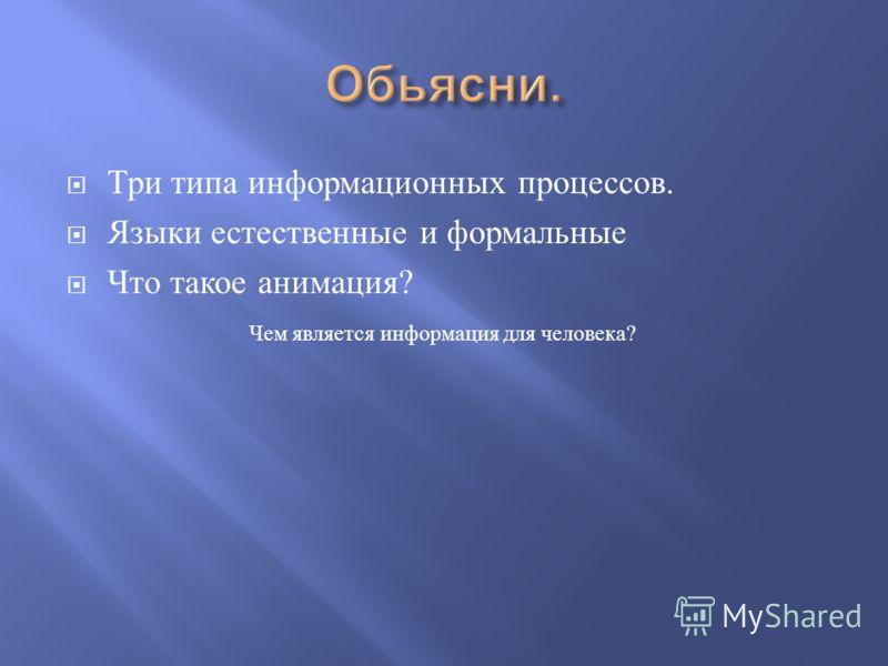 Чем является информация для человека ? Три типа информационных процессов. Языки естественные и формальные Что такое анимация ?