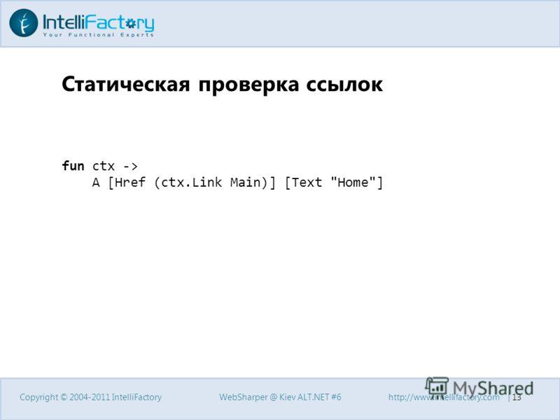 Статическая проверка ссылок Copyright © 2004-2011 IntelliFactoryWebSharper @ Kiev ALT.NET #6http://www.intellifactory.com   13 fun ctx -> A [Href (ctx.Link Main)] [Text Home]