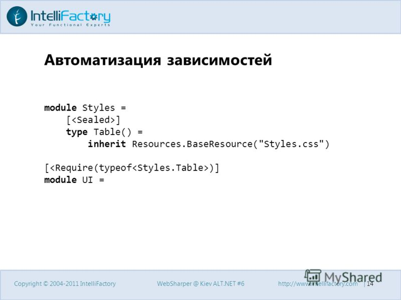 Автоматизация зависимостей Copyright © 2004-2011 IntelliFactoryWebSharper @ Kiev ALT.NET #6http://www.intellifactory.com | 14 module Styles = [ ] type Table() = inherit Resources.BaseResource(Styles.css) [ )] module UI =
