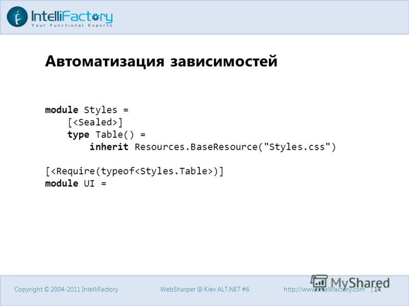 Автоматизация зависимостей Copyright © 2004-2011 IntelliFactoryWebSharper @ Kiev ALT.NET #6http://www.intellifactory.com   14 module Styles = [ ] type Table() = inherit Resources.BaseResource(Styles.css) [ )] module UI =