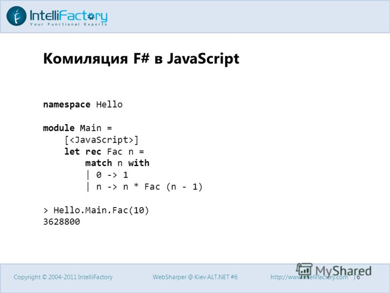 Комиляция F# в JavaScript Copyright © 2004-2011 IntelliFactoryWebSharper @ Kiev ALT.NET #6http://www.intellifactory.com | 6 namespace Hello module Main = [ ] let rec Fac n = match n with | 0 -> 1 | n -> n * Fac (n - 1) > Hello.Main.Fac(10) 3628800