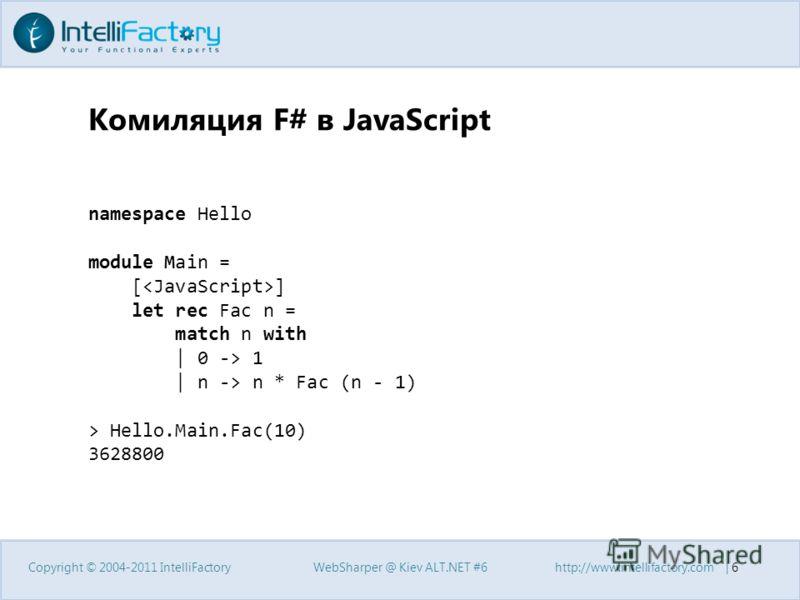 Комиляция F# в JavaScript Copyright © 2004-2011 IntelliFactoryWebSharper @ Kiev ALT.NET #6http://www.intellifactory.com   6 namespace Hello module Main = [ ] let rec Fac n = match n with   0 -> 1   n -> n * Fac (n - 1) > Hello.Main.Fac(10) 3628800
