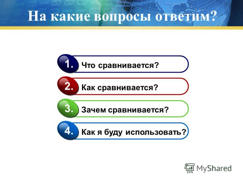 На какие вопросы ответим? Что сравнивается? 1. Как сравнивается? 2. Зачем сравнивается? 3. Как я буду использовать? 4.