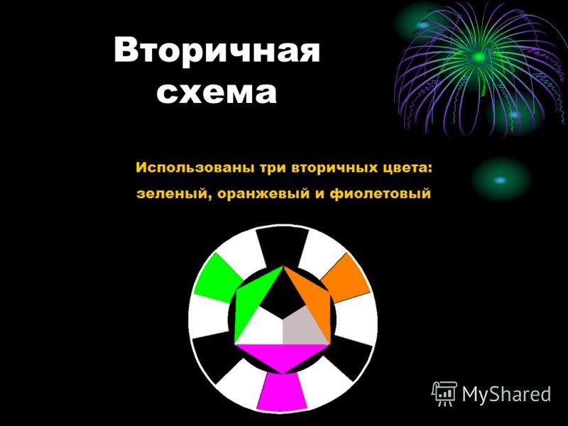 Вторичная схема Использованы три вторичных цвета: зеленый, оранжевый и фиолетовый