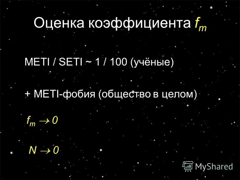 11 Оценка коэффициента f m METI / SETI ~ 1 / 100 (учёные) + METI-фобия (общество в целом) f m 0 N 0